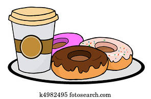 Coffee Cup With Donuts