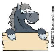 karikatur, pferd, etikett
