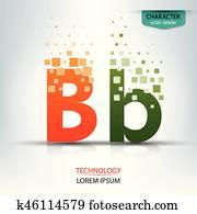 The letter B, character digital technology logo design vector