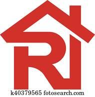 brief, r, immobilienmakler, real estate, logo