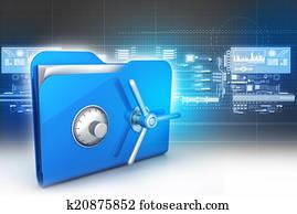 folder with safe lock