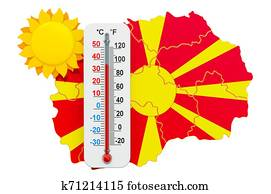 Heat in Macedonia concept. 3D rendering