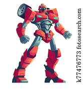 rot, roboter, transformator, und, car,, karikatur, abbildung
