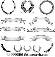 Vector Wreaths and Banner Set
