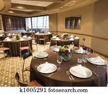 Empty restaurant dining room.