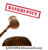 judges court gavel with bankruptcy text, on white