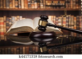Law books, mallet of the judge, Courtroom background