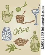 retro olive icons
