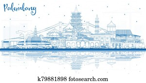 Outline Palembang Indonesia City Skyline with Blue Buildings and Reflections.