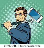 Selfie, mann, blogger, smartphone