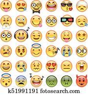 Big set of 36 emojis emoticons