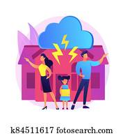 Child custody abstract concept vector illustration.