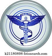 chiropraktiker, symbol, oder, symbol, taste