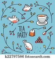 Garden Tea Party with Birds Twigs and Berries