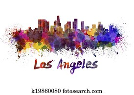 Los Angeles skyline in watercolor