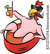 laid back chicken in a pot