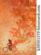 man on bicycle with falling autumn
