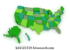 USA map 3D with Alaska and Hawaii