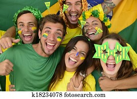 Group of Brazilian soccer fans