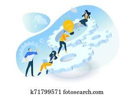 Flat design concept of project management, teamwork, business mechanism, research and development