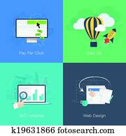 Flat web development business conce