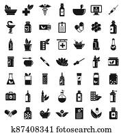 Homeopathy icons set, simple style