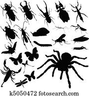 insekt, gesellschaft, vektor, silhouetten