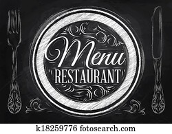 Menu restaurant lettering chalk