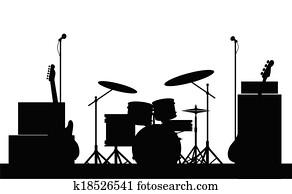 rockgruppe, ausrüstung, silhouette
