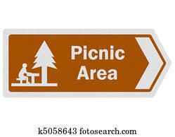 Tourist information series: photo-realistic 'picnic area' sign