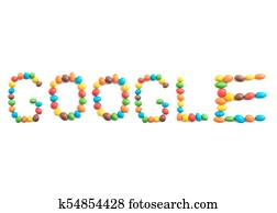 Word google, of multicolored candies isolated on white background