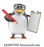 3d Academic penguin with a clipboard and pencil