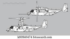 Bell Boeing V-22 Osprey. Outline vector drawing