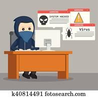 hacker carrying laptop vector