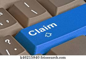 Keyboard with key for claims