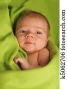 Newborn baby on a green blanket