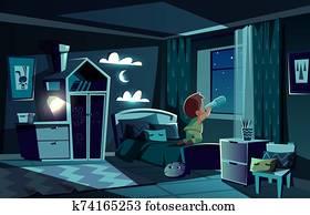night room, boy watching by spyglass