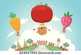 Stickman Kids Veggie Garden Air Balloon