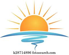 Sun beach waves logo