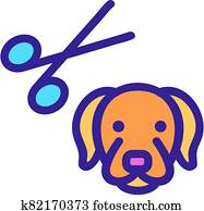dog grooming icon vector outline illustration