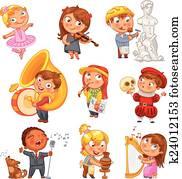 Hobbies. Funny cartoon character