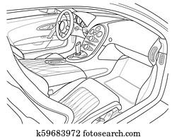 Machine inside. Interior of the vehicle.