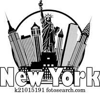 New York City Skyline Black and White Circle Illustration