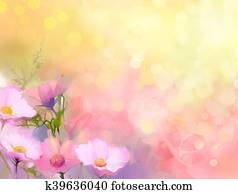 Oil painting nature grass flowers. Hand paint close up pink cosmos flower