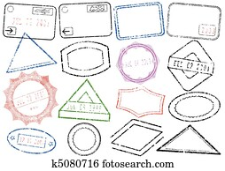 Passport or post stamp set.