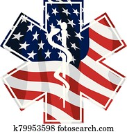 Patriotic Paramedic EMT Medical Service Symbol with USA Flag Overlay Isolated Vector Illustration