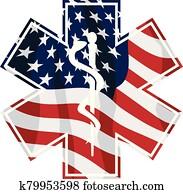 patriotisch, rettungshelfer, emt, medizinischer dienst, symbol, mit, usa markierung, auflage, freigestellt, vektor, abbildung