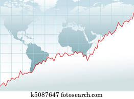 tabelle, globale wirtschaft, finanzielles wachstum, landkarte
