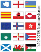 Vector flag set of world continents