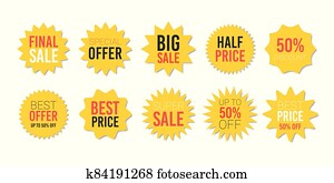 Yellow sale starburst sticker set - star edge round labels and badges with best offer and discount signs.